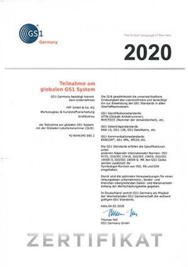 Zertifikat zur Teilname am globalen GS1 System [2,4 MB]